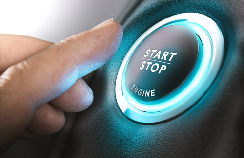 Keyless car ignition start stop button