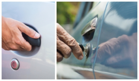 Unlocking a car door, opening a car door, side by side