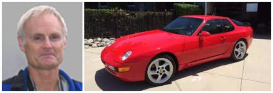 Henry Hall and a red 1993 Porsche 968 Coupe