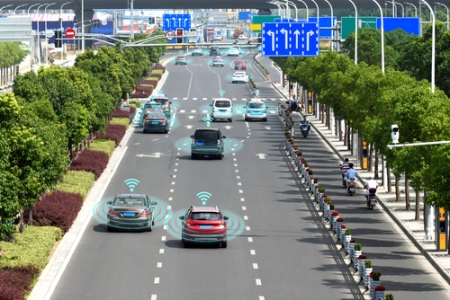 Driverless cars driving on highway