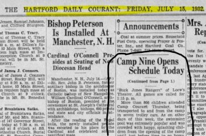 Camp Courant newspaper item from 1932