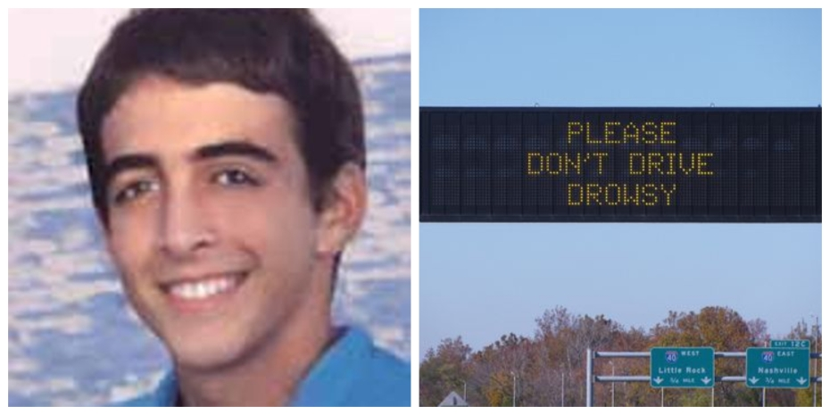 Left, Kyle Kiihnl, right Tennessee sign warns motorists against drowsy driving