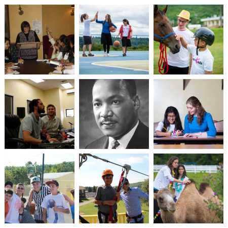 Collage of mentors and mentees and MLK in center