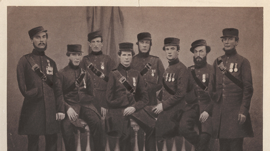 The original Corps of Commissionaires including founder Captain Edward Walter – far left