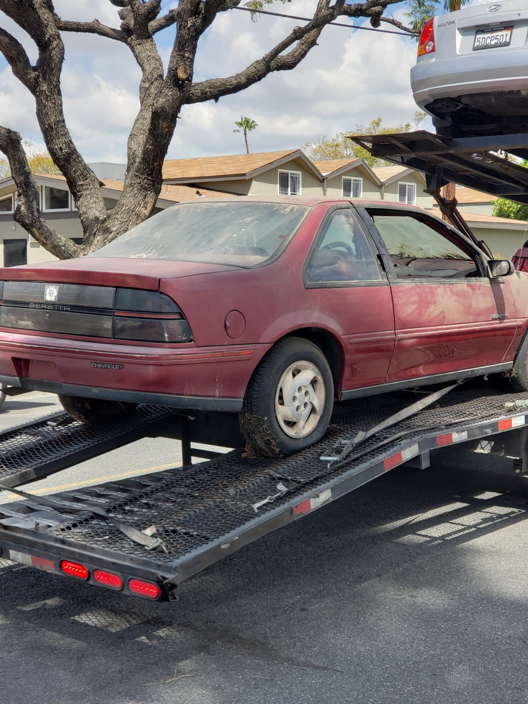 Grace, a 1992 Beretta, readied for towing by Kars4Kids, 2019