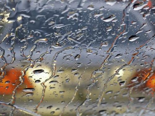 Car headlights in rainy weather