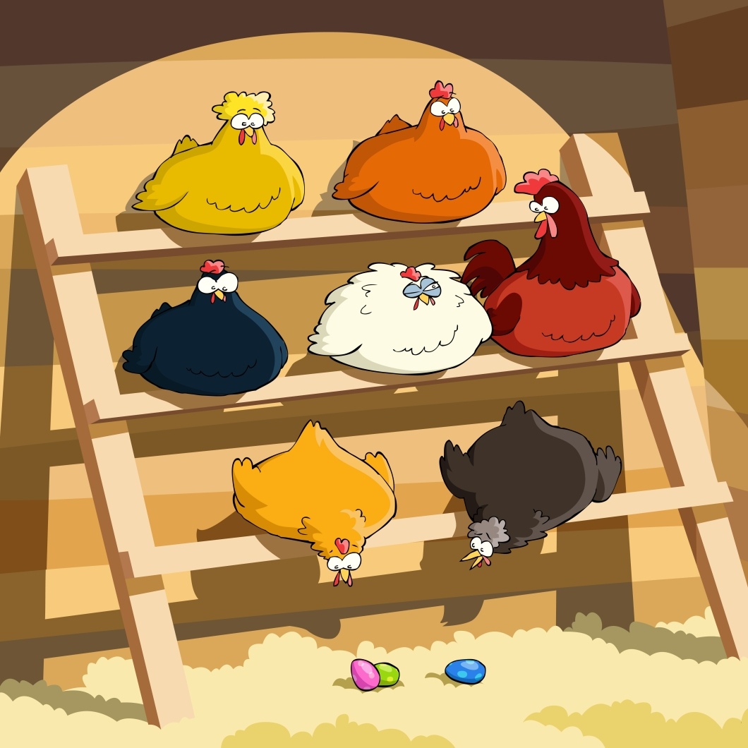 cartoon chickens in chicken coop