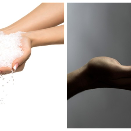 hands hold salt, shaving cream